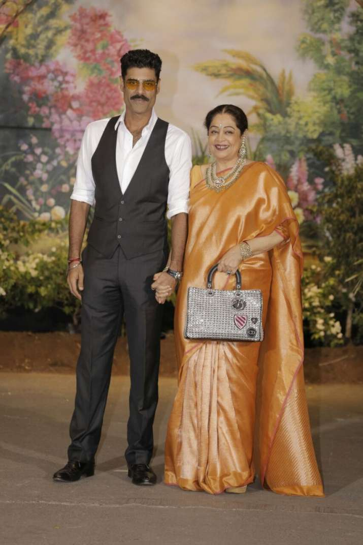 India Tv - Kirron Kher with her son