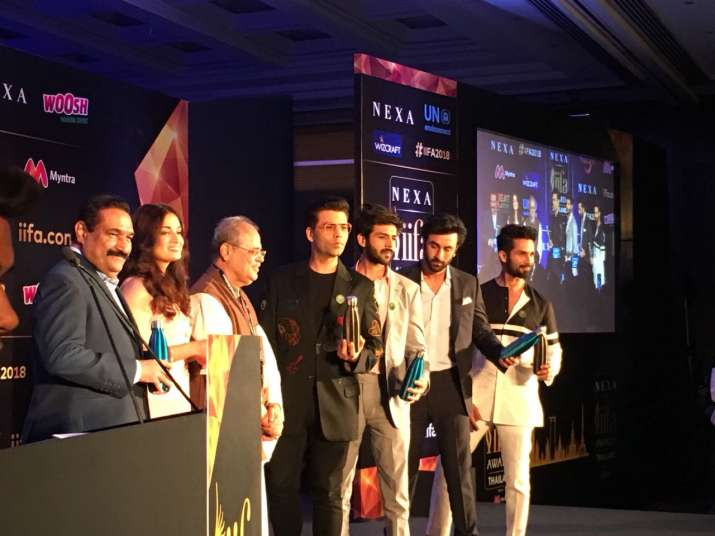 India Tv - Diya Mirza, Karan Johar, Kartik Aryan, Ranbir Kapoor and Shahid Kapoor at IIFA 2018 Press Conference in Delhi.