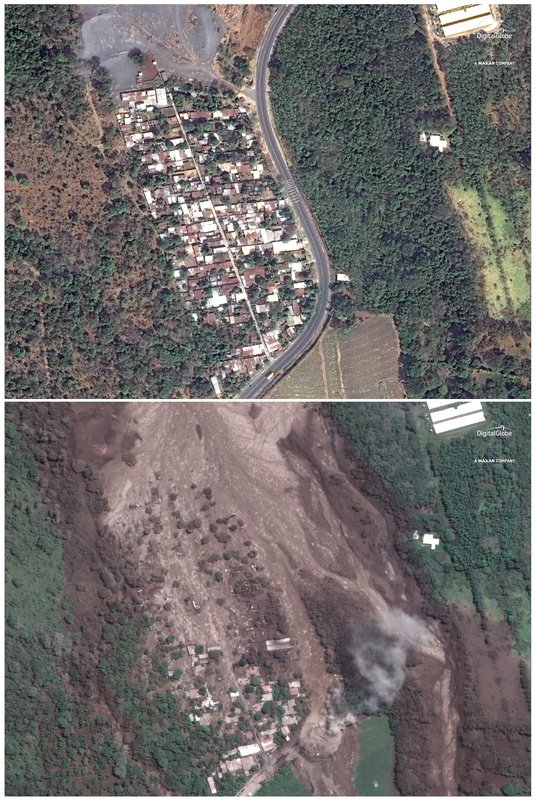 India Tv - This combo of two satellite images provided by Digital Globe shows the hamlet of San Miguel Los Lotes, Guatemala, pictured on Feb. 5, 2018, top, and the same area on June 6, 2018 after the hamlet was encased in volcanic material following the eruption of the Volcano