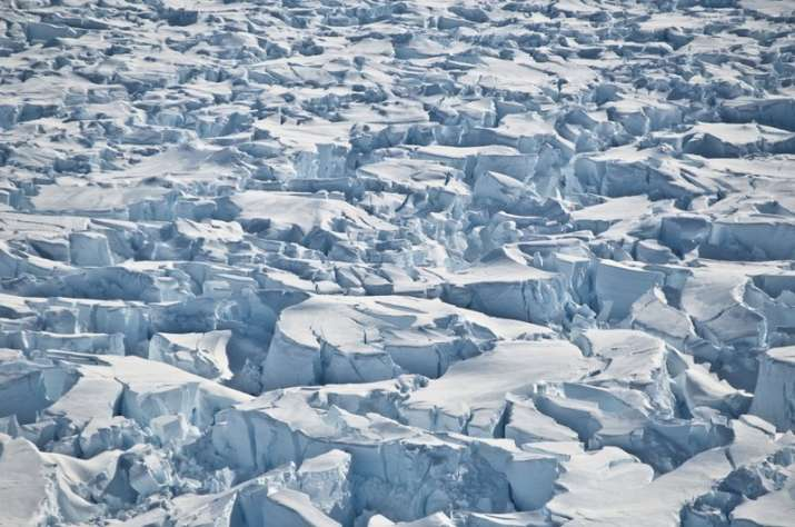India Tv - This 2010 photo provided by researcher Ian Joughin shows crevasses near the edge of Pine Island Glacier, Antarctica.