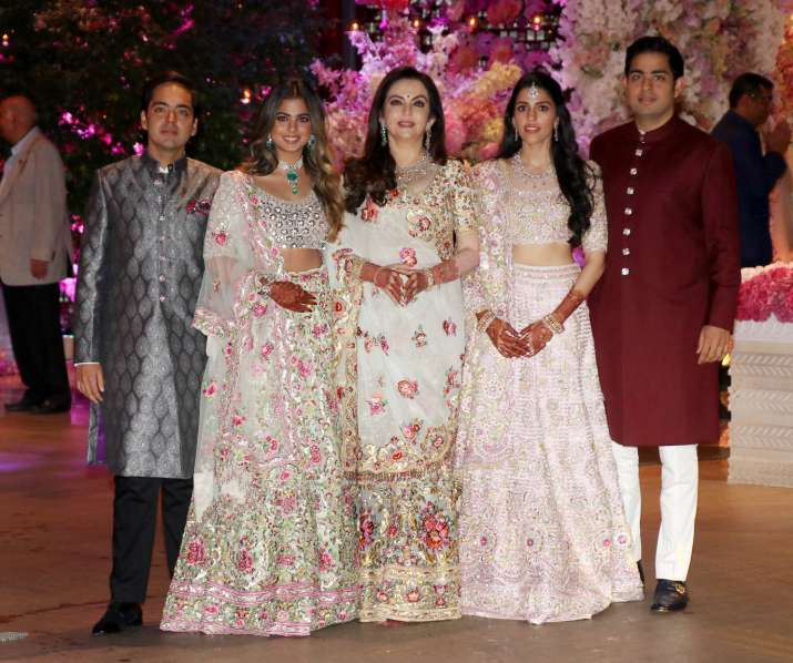 India Tv - Ambani's at Akash Ambani and Shloka Mehta's engagement party