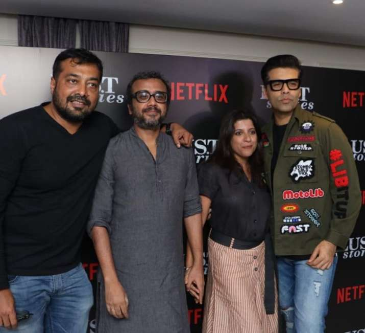 India Tv - Anurag Kashyap, Zoya Akhtar and Karan Johar at Lust Stories Premiere.