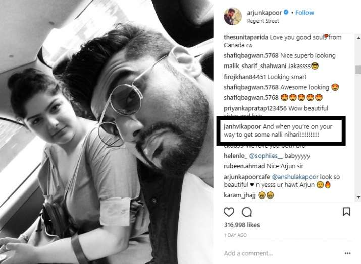 India Tv - Janhvi Kapoor posts a funny comment on brother Arjun Kapoor's selfie