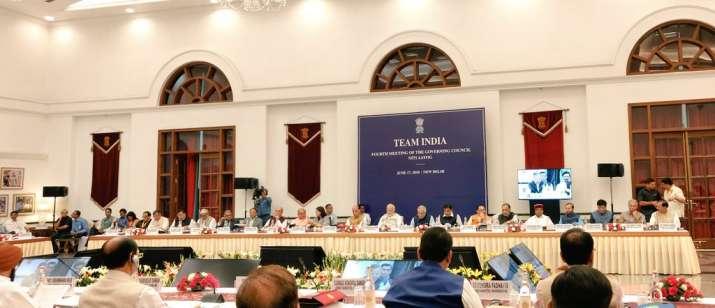 India Tv - PM Modi chairs Niti Aayog meeting: Ayushman Bharat, Mission Indradhanush, farmer's income on agenda