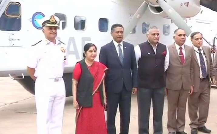 Sushma Swaraj hands over a Dornier aircraft to Seychelles President Danny Faure