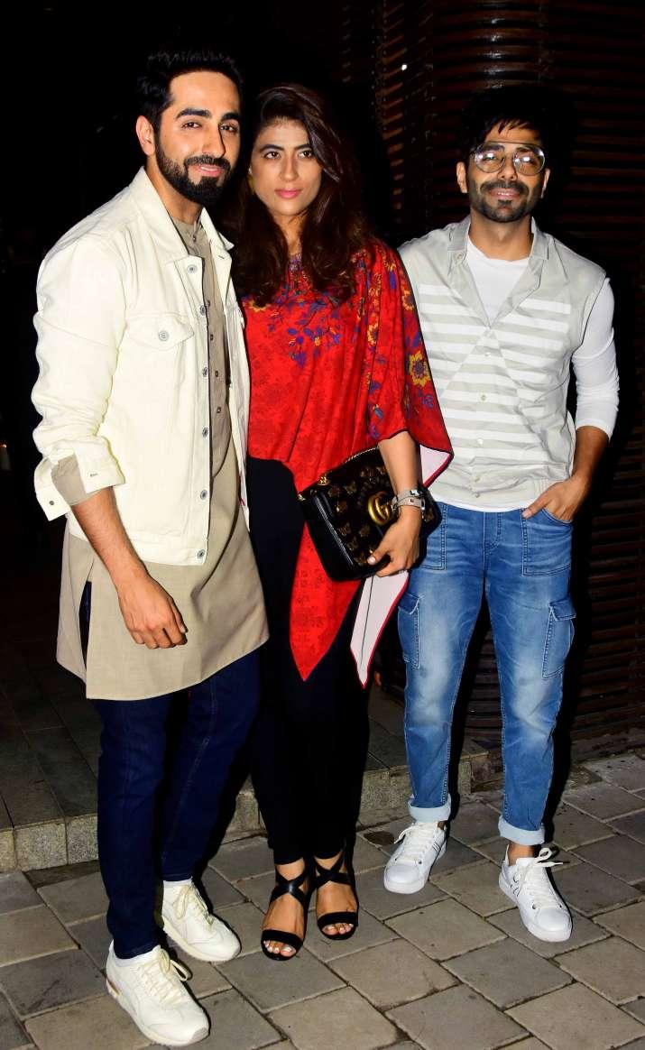 India Tv - Ayushmann Khurrana with wife Tahira Kashyap and brother Aparshakti Khurrana atAanand L Rai birthday party