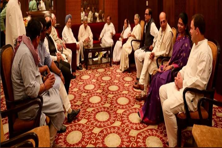 Rahul Gandhi with his guests at the Iftar party.