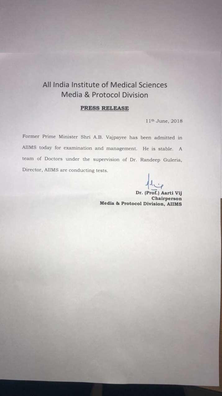 India Tv - AIIMS statement