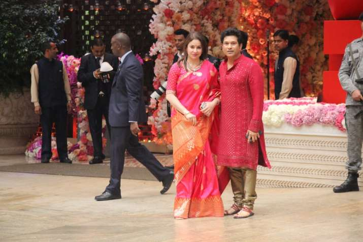 India Tv - Sachin Tendulkar and wife Anjali at Akash Ambani-Shloka Mehta engagement party