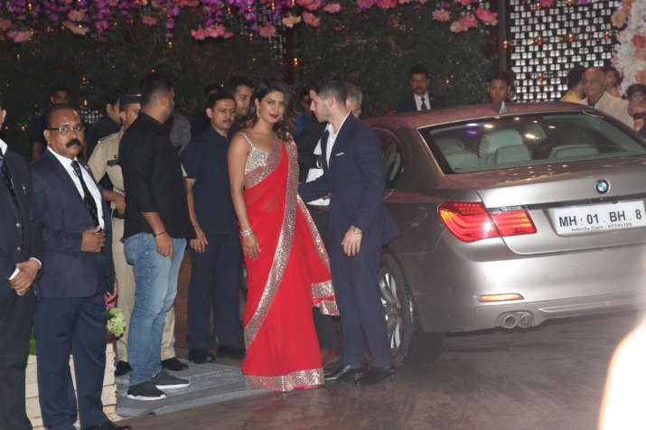 India Tv - Priyanka Chopra and Nick Jonas arrived holding hands at Akash Ambani-Shloka Mehta engagement party