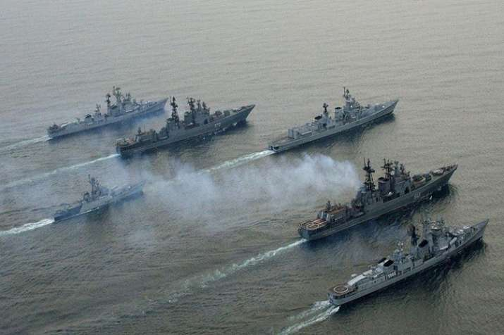 The tri-service joint Russia-India military exercise