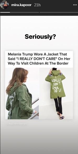India Tv - Mira Rajput slams Melania Trump's jacket