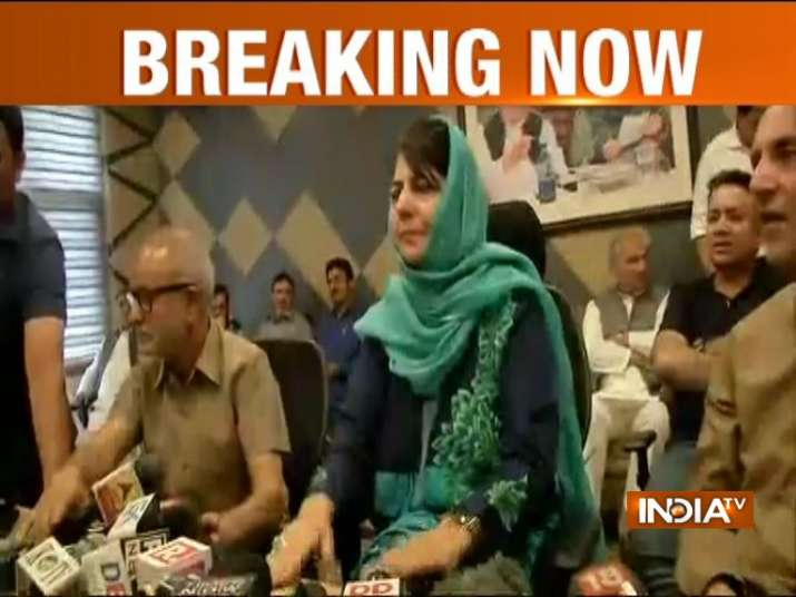 Mehbooba Mufti addressing press conference