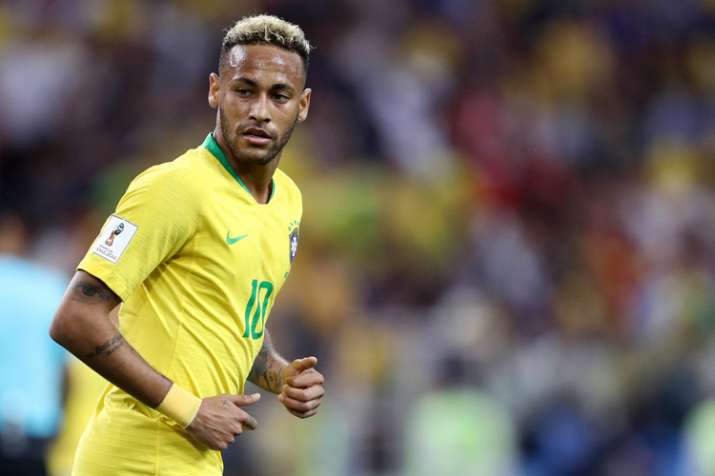 Neymar Jr of Brazil looks on during the 2018 FIFA World Cup Russia group E match.