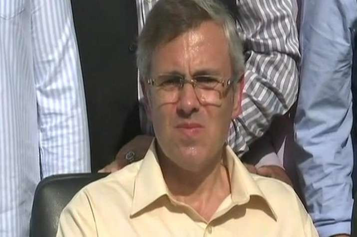 Omar Abdullah during the press conference.