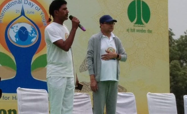 India Tv - IndiaTV chairman Rajat Sharma at an International Yoga Day event in New Delhi.