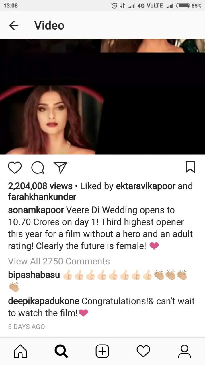 India Tv - Deepika Padukone's comment on Sonam Kapoor's Instagram picture