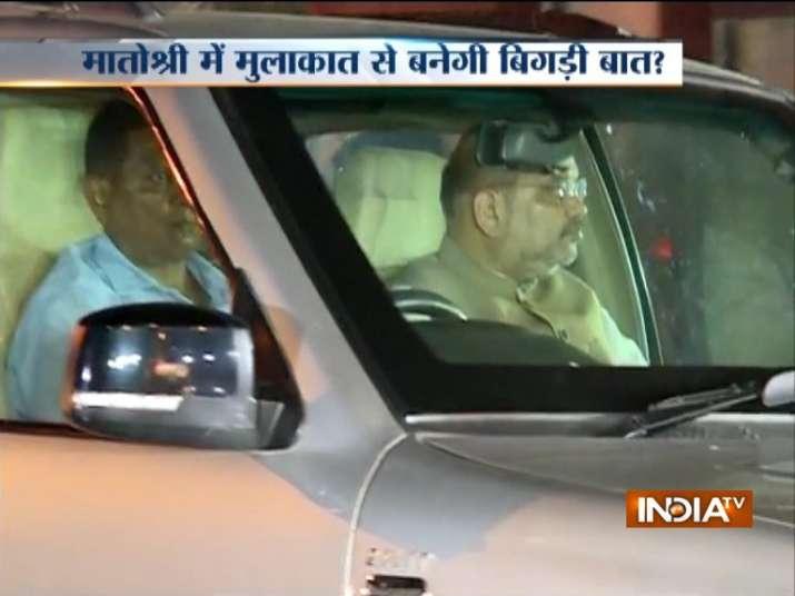 Amit Shah arriving at Matoshree