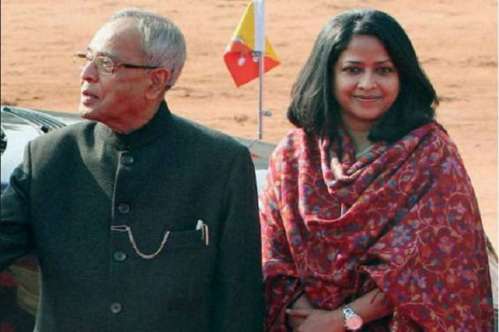 Sharmishta Mukherjee with father and former President