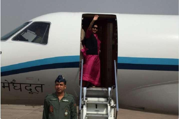 External Affairs Minister Sushma Swaraj on Saturday left