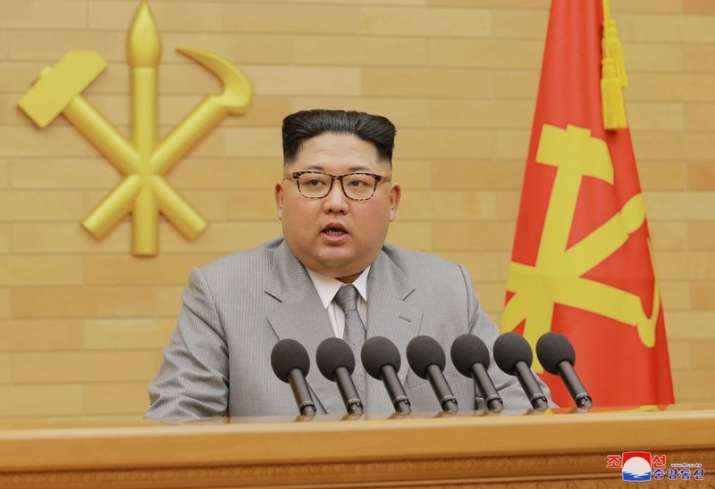 India Tv - In this photo provided by the North Korean government, North Korean leader Kim Jong un delivers his New Year's speech.