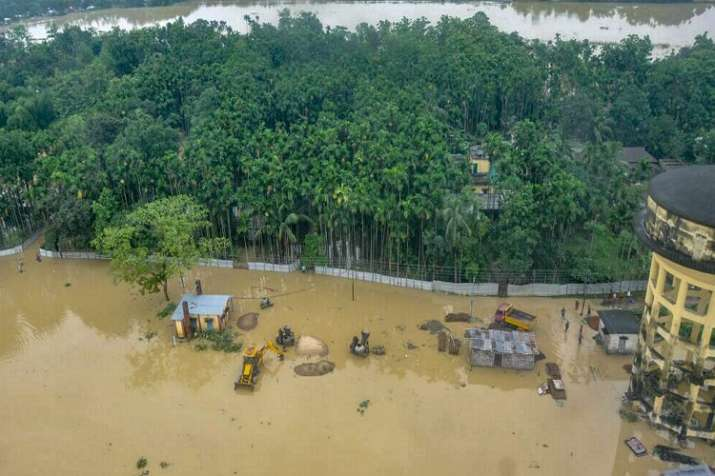 India Tv - An aerial view of flood-affected Kailashahar town in Unakoti district of Tripura on Friday.