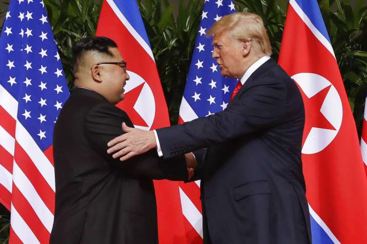 Donald Trump with Kim Jong Un at Singapore Summit