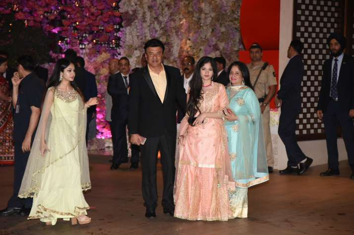 India Tv - Anu Malik with family at Akash Ambani and Shloka Mehta's engagement bash