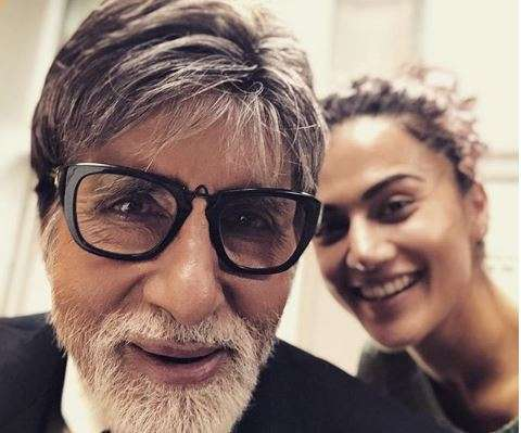 India Tv - Amitabh Bachchan with Taapsee Pannu at Badla sets