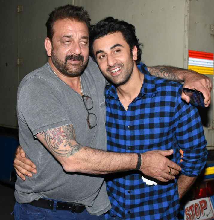 India Tv - Sanjay Dutt meets Ranbir Kapoor on Sanju sets