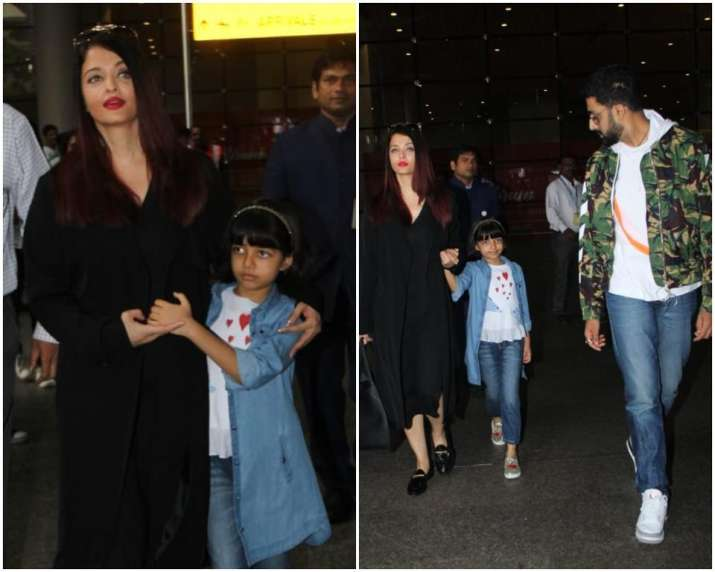 India Tv - Abhishek and Aishwarya return from London vacation with daughter Aaradhya