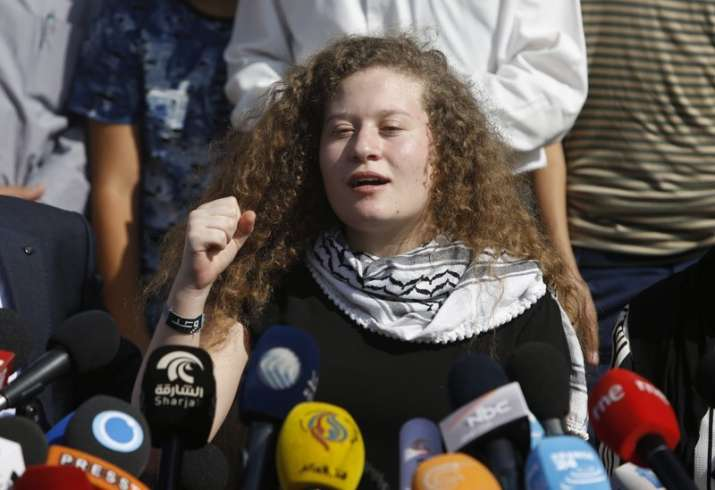 Ahed Tamimi speaks during a press conference on the