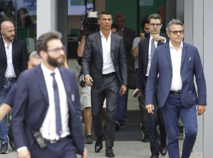 India Tv - Ronaldo arrives at Juventus to complete his medicals