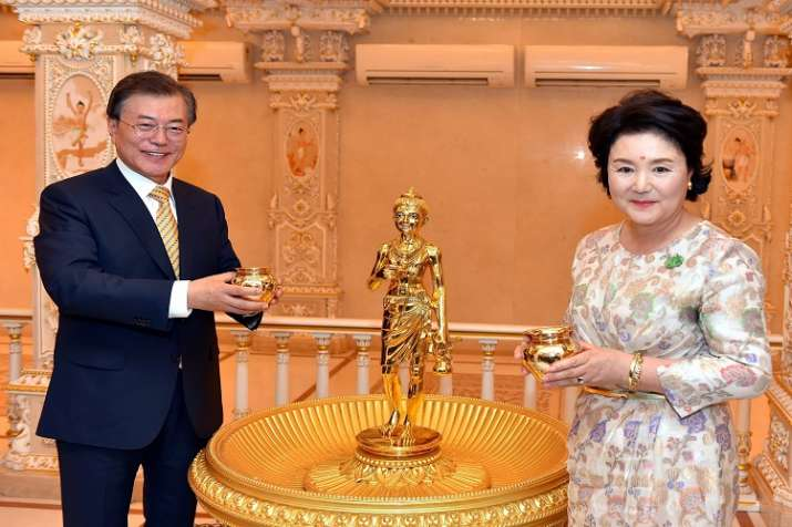 South Korean President Moon Jae-in with First Lady Kim