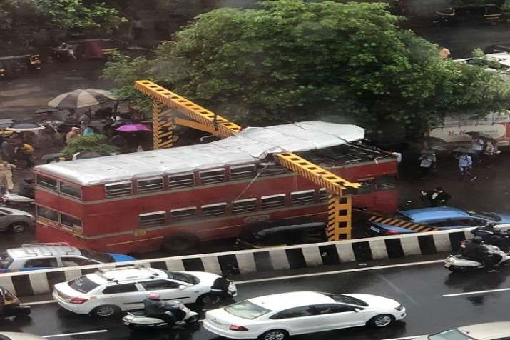 A BEST double decker bus crashed into an overhead railing