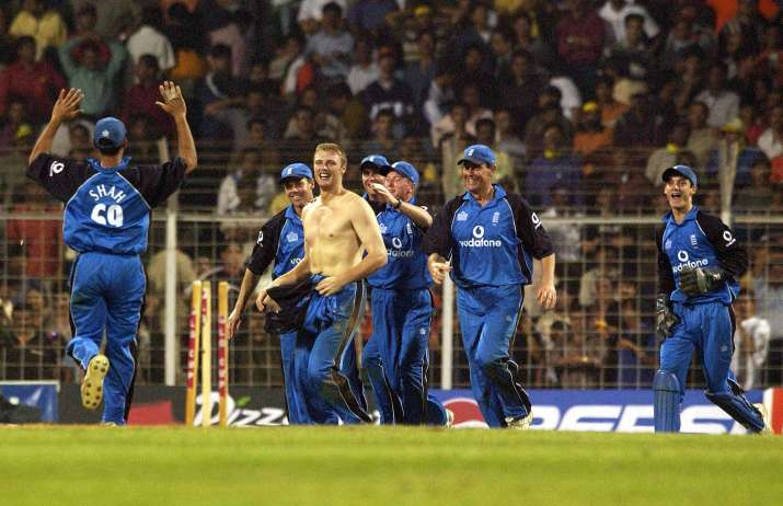 India Tv - Flintoff removed his shirt after winning the series for England in 2002.