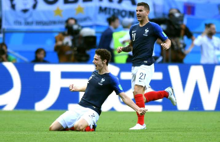 4e9f70a7f85 WATCH: Benjamin Pavard's screamer against Argentina voted best goal of FIFA  World Cup 2018 | Soccer News – India TV