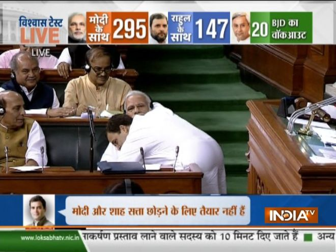 Rahul Gandhi gives 'jhappi' to PM Modi in Lok Sabha