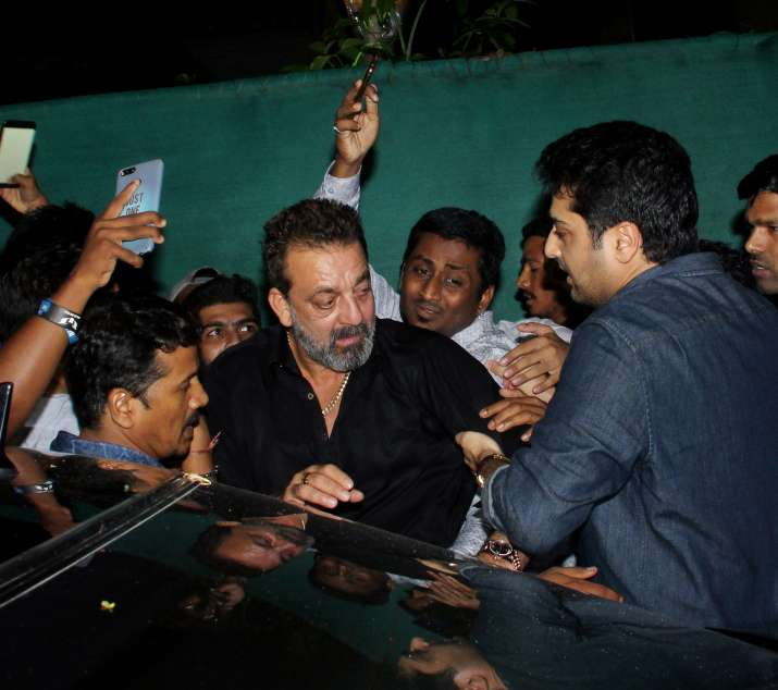 India Tv - Sanjay Dutt mobbed by fans