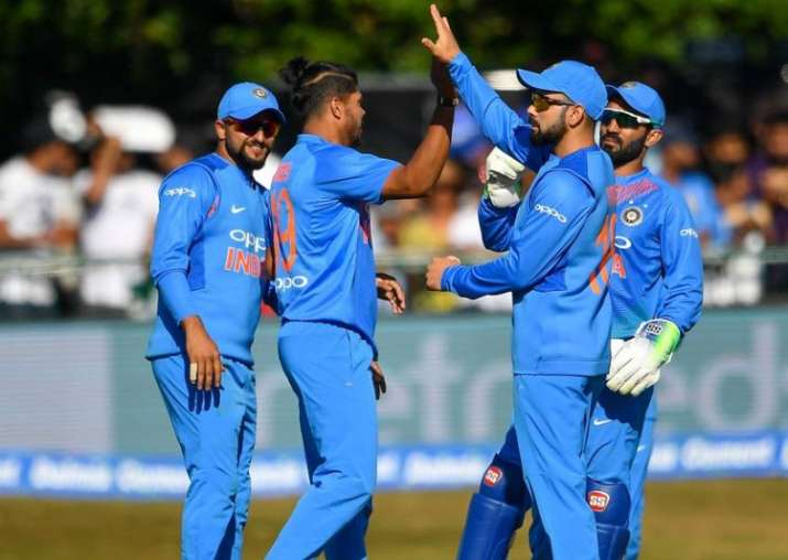 Indian cricket team celebrates a wicket in Ireland