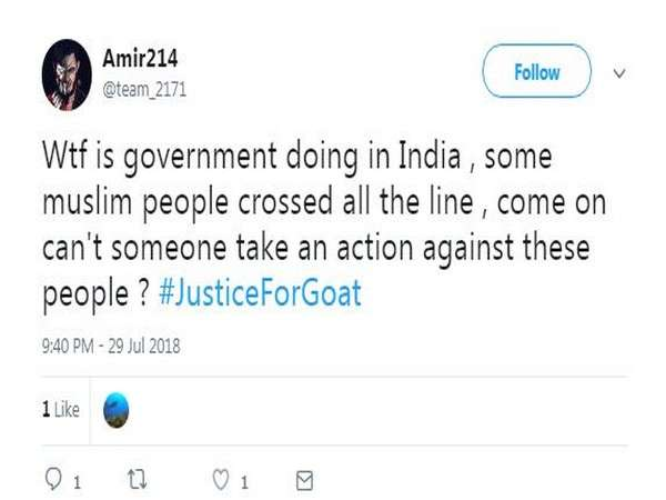 India Tv - Comments on Justice for Goat campaign