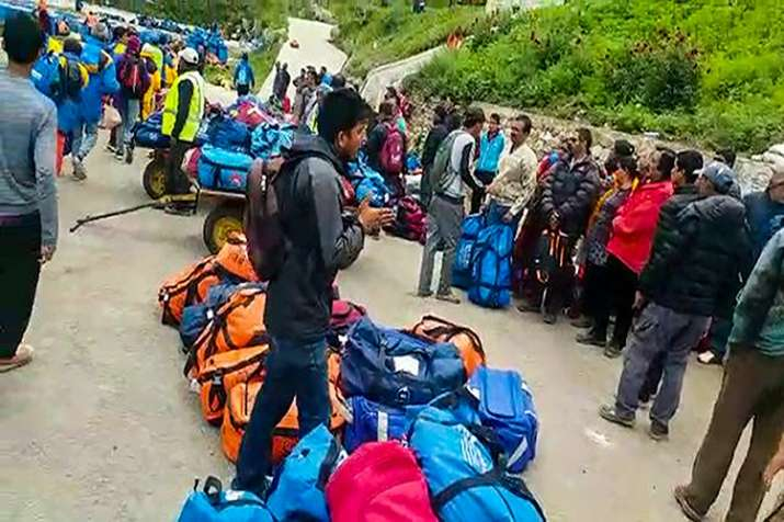 Indian pilgrims being evacuated from Simikot to Surkhet