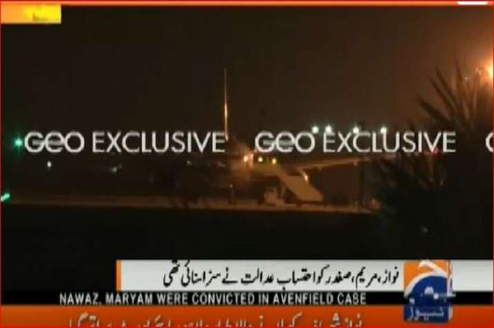 India Tv - The flight carrying former Pak PM Nawaz Sharif and daughter Maryam lands in Lahore.
