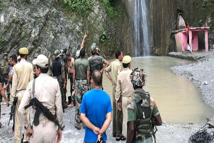India Tv - At least four people were killed after landslide hit Sehar Baba waterfall near Raisi in Jammu.