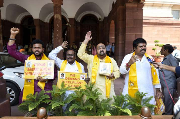 India Tv - TDP MPs staging protest