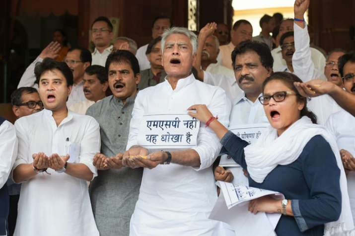 India Tv - Congress MPs staging protest in Parliament