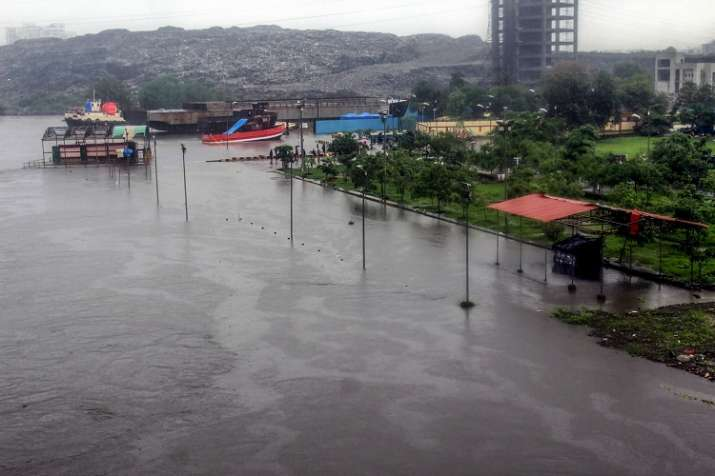 A view of a flooded locality after heavy rains, in Kalyan,