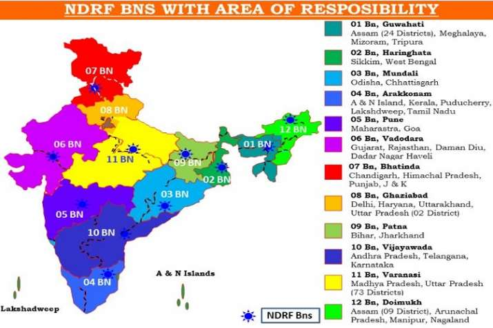 India Tv - NDRF BNS with areas of responsibility