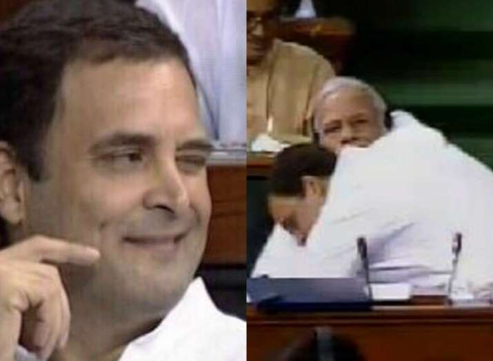India Tv - Moments after hugging PM Modi, Rahul Gandhi was seen winking at one of his fellow MPs.