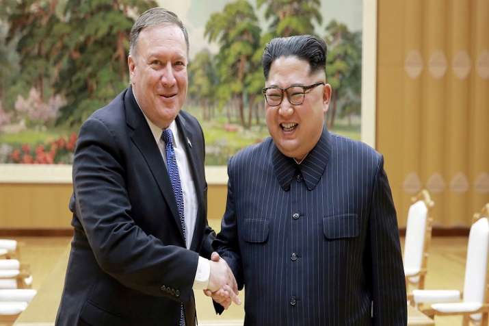 North Korean leader Kim Jong Un shakes hands with US
